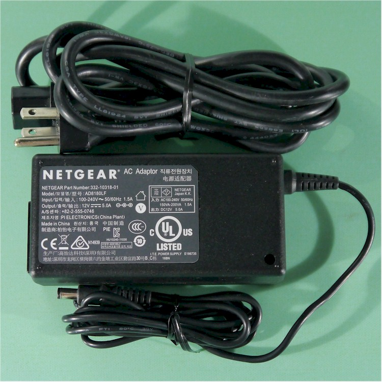 NEW ORIGINAL NETGEAR 332-10318-01/AD8180LF AC Adapter 12VDC 5A *** FOR ReadyNAS NV+/DUO Storage Unit *** & NEW ORIGINAL NETGEAR AC Adapter For ReadyNAS NV+/DUO Storage Unit ++ ...