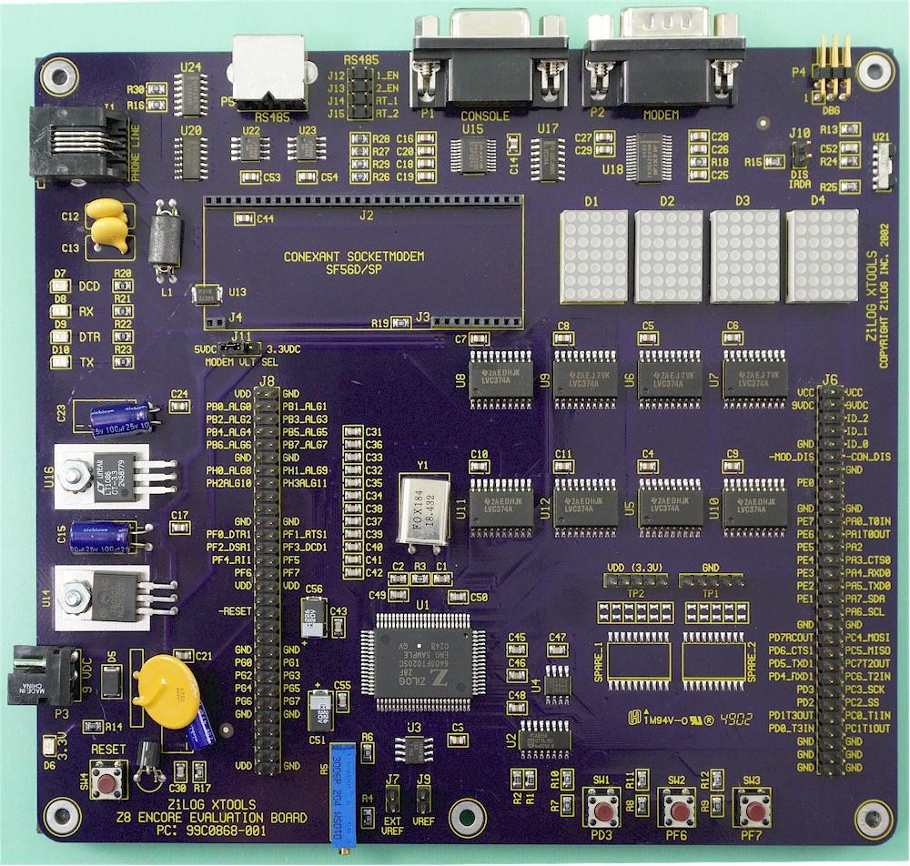 ZiLog XTOOLS Z8 Encore Evaluation Board W// VMI /& FT